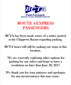 Route 4 Express Parking In Chippewa Bcta